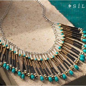 SILPADA FRINGE NATURAL HOWLITE + GLASS NECKLACE